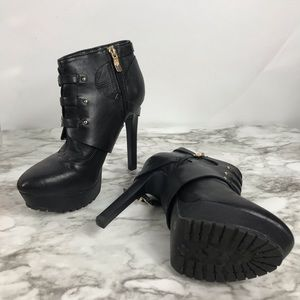 BCBGeneration Black Welsh Leather Booties Size 7.5
